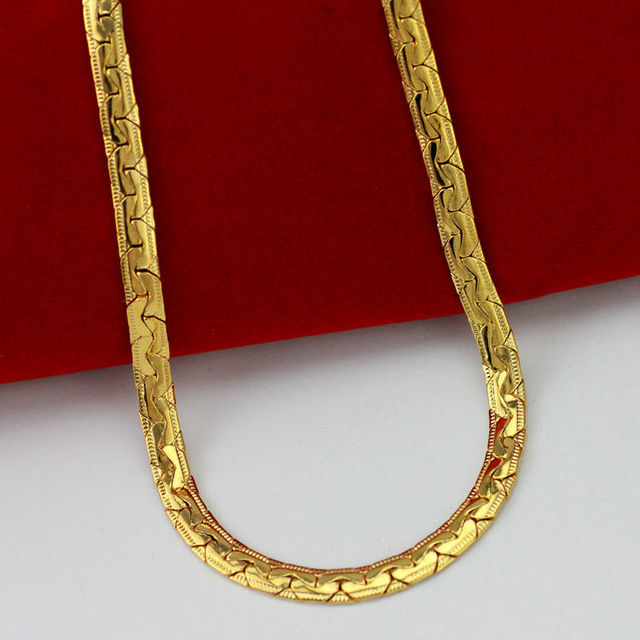 Chinese style gold Ingots chain  real yellow gold filled fastness chain necklace unisex fashion jewelry