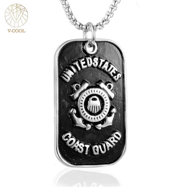 Punk dog tag men united states coast guard pendants necklaces hip punk dog tag men united states coast guard pendants necklaces hip hop custom jewelry titanium stainless aloadofball Image collections
