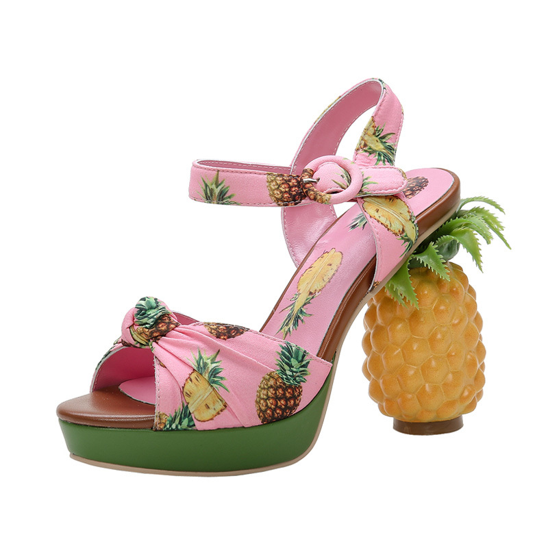 Womens Peep Toe Pink Pineapple Fruit Printed Sandals Summer Strange High Heel Slingback Shoes Pumps Ankle Buckle New Sweet A519