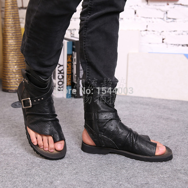 426dd389c1b18 Genuine Leather Black Open Toe Summer Shoes Men Casual Men s Sandals  Crocodile Print Flip Flops Men Beach Chinelos Masculinos