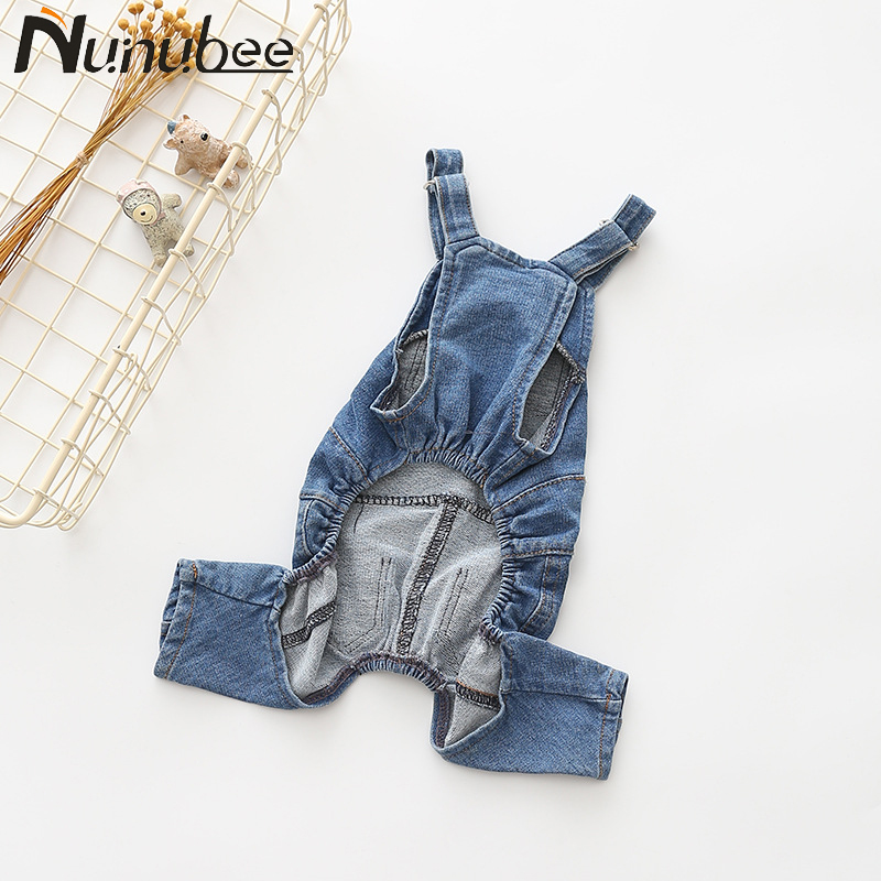 Nunubee Cowboy Dog Clothes Rompers French Bulldog Blue Dog Coat Pet Clothes for Small Large Dogs roupa para cachorro S-XXL