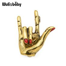 Wuli amp baby Girl LOVE gest Red Nail Hand broszka przypinki dla kobiet broszka ślubna Punk Pins 2019 moda prezent akcesoria biżuteryjne tanie tanio Wuli baby CN (pochodzenie) Ze stopu cynku Broszki PLANT WB7XZ273 Kobiety TRENDY Rhinestone 2 8*2 3cm 6 0g Men Unisex Lovers
