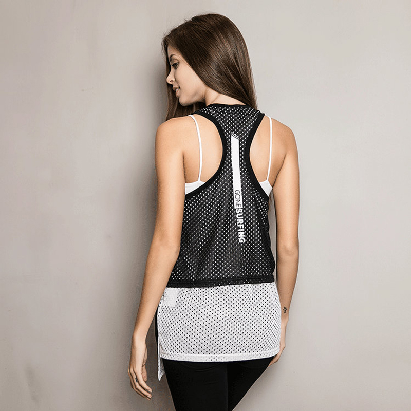 Cropped feminino Olahraga cepat kering Kaos Tanpa Lengan tank top sexy  printing T shirt wanita lapisan 4ad8501b55