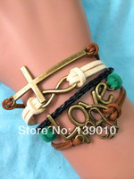 Retro Alloy Love Cross Multicolor Leather Suede Rope Cuff Bracelet Charm Fashion Anchor Infinity Women Men Costume Brand Jewelry