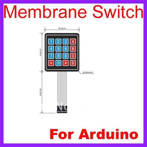 10pcs /Lot 4 x 4 Matrix Keypad Membrane Switch 8 pins connector SCM Outside enlarge Keypad For Arduino Free Shipping