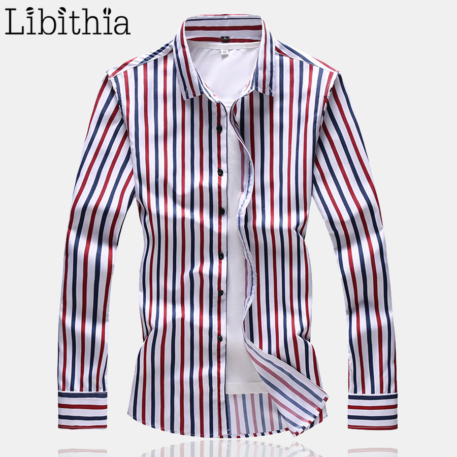 Mens Casual Striped Dress Shirts Autumn Print Long Sleeve Big Size M-7XL Social Masculina Shirt Clothes Male Blue Red T176