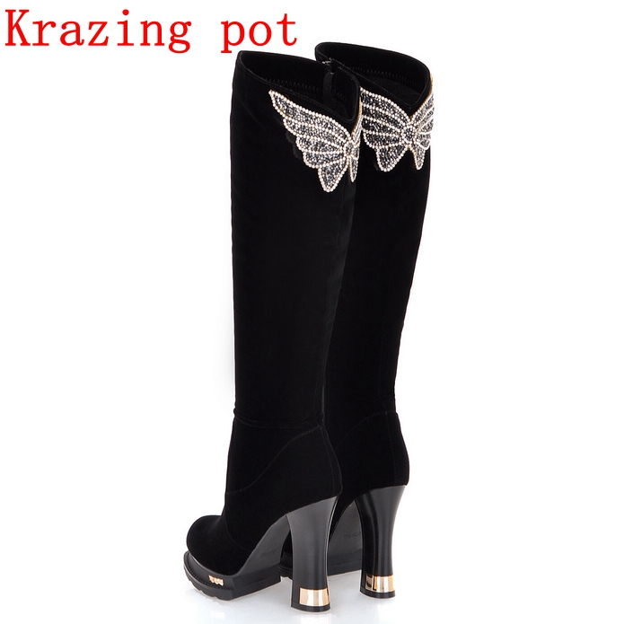 Krazing Pot PU Butterfly embroidery keep warm winter boots superstar supe high heels fashion platform over-the-knee boots L31 krazing pot flannel stretch boots winter keep warm wedges high heels leisure long legs beauty fashion over the knee boots l31