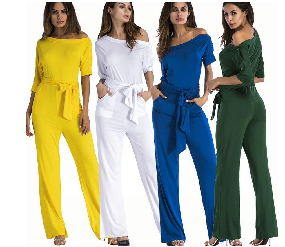 Hot women's classic classic pure color oblique collar single-breasted high-waist one-piece wide leg pants