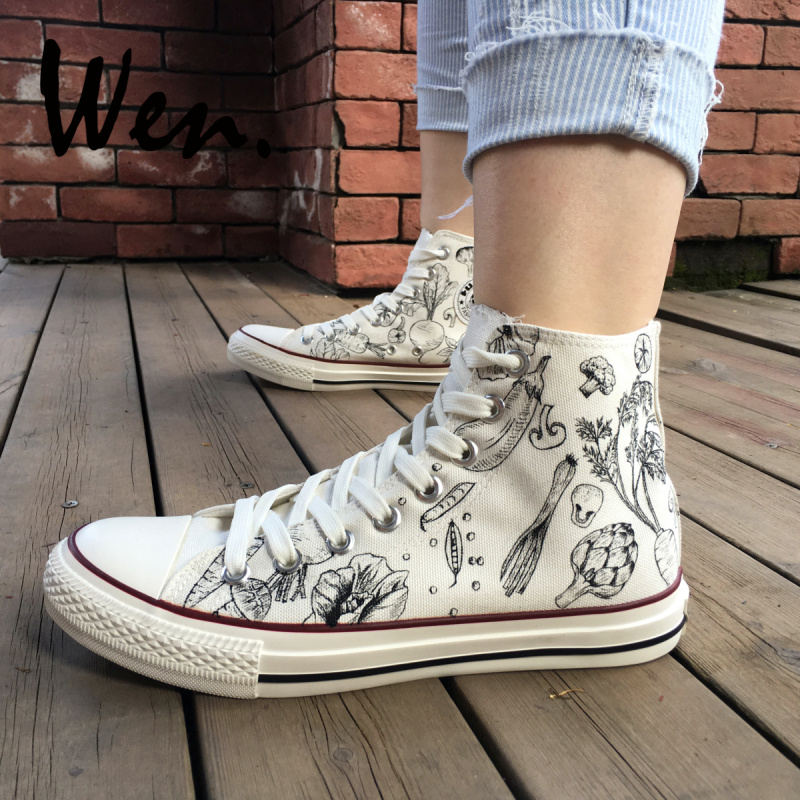 Wen Design Custom Hand Painted White Shoes Kinds of Vegetables Patterns Men Womens Gifts High Top Canvas SneakersWen Design Custom Hand Painted White Shoes Kinds of Vegetables Patterns Men Womens Gifts High Top Canvas Sneakers