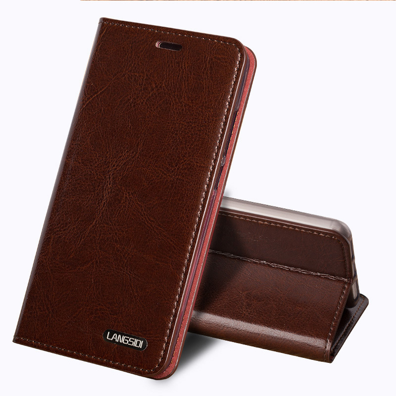 Wangcangli Genuine Leather Flip Case For iPhone 8 X Oil wax Leather 3 Card slots Phone Cover For iPhone 6 6S 7 Plus cases