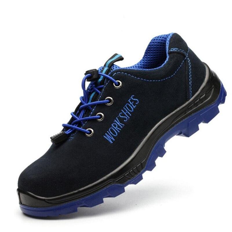 Рабочая защитная обувь для мужчин со стальным носком; Повседневные Дышащие уличные кроссовки; непромокаемые ботинки; удобные промышленные ботинки для мужчин - Цвет: Красный