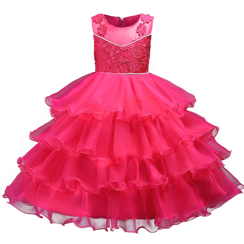 New Solid Color Girls Princess Dress Flower Lace Kids Layered Cake Gowns for Party Wedding Children Teens Dress up Clothes 4-13Y in stock layered pre teen party gowns little girls pageant dress pink color
