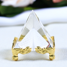 4cm Laser Engraved Pyramid K9 Crystal Figurines Miniatures Transparent Glass  Cone Crafts Ornaments For Gifts Home Decor