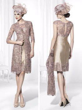 Popular Mother Of The Bride Dresses Sheath High Collar Champagne Lace Short Brides