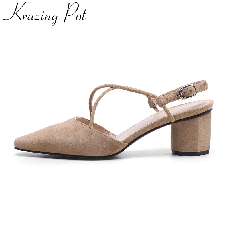 Krazing Pot 2018 new superstar pointed toe high heels buckle slingback wedding party shoes office lady shallow women sandals L39 suru slingback pumps women real leather 8cm high heels party shoes pointed toe back trip sandals exegang office lady shoes black