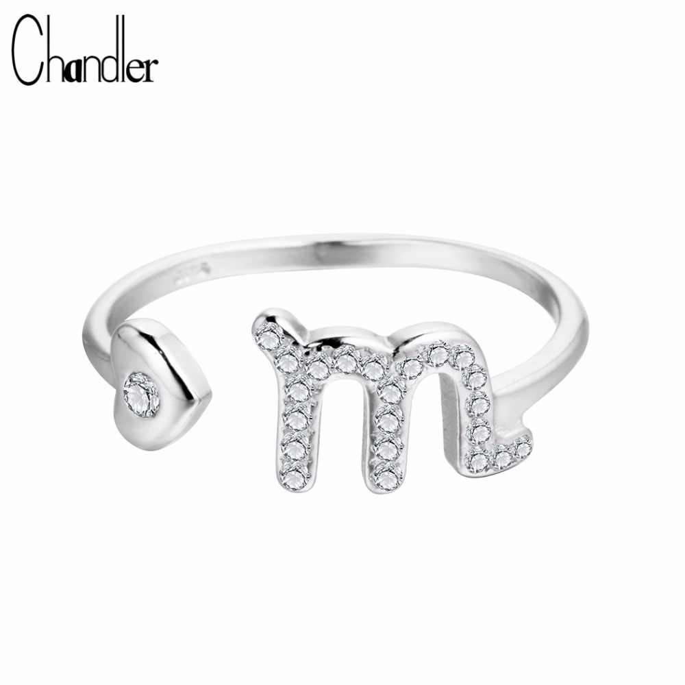 Чандлер 12 знаки зодиака звезды гороскоп cозвездие Скорпион Кольца Регулируемый 925 пробы серебряные кольца для Для женщин