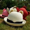 Бесплатная Доставка летом женские кошачьи уши вс-затенение соломенная шляпа солнце купол фетровых пляж крышка женский шляпа