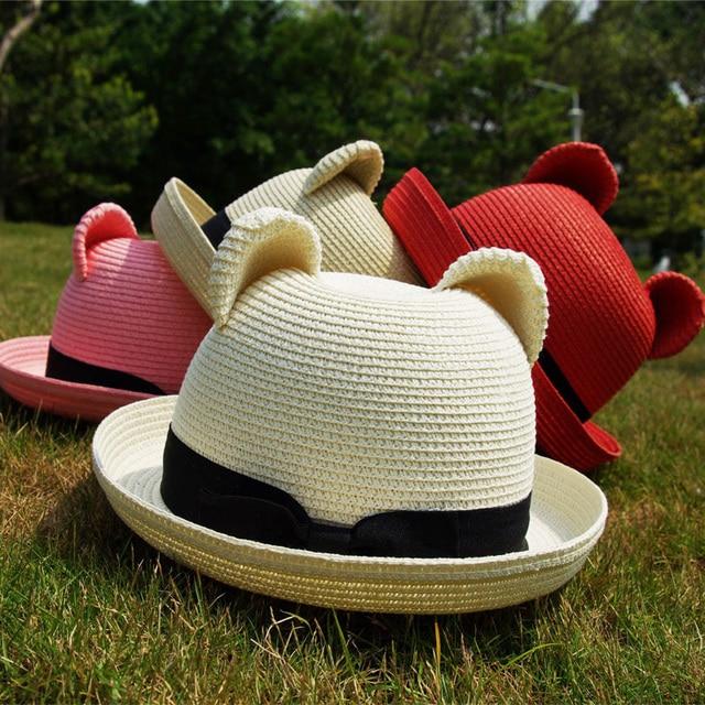 Free Shipping summer female cat ears sun-shading straw hat sun dome fedoras beach cap female hat