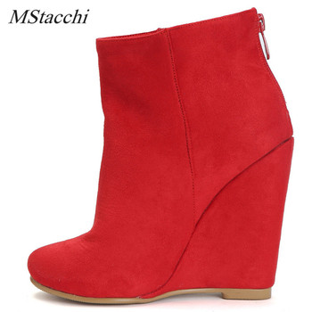 Mstacchi Fashion Shark Lock Women Wedge Boots Height Increasing Fold Over High Boots Female Bottes Femme Wedges Shoes Size 34-47