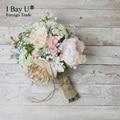 Розовый и Белый Свадебный Букет Ручной Работы Искусственный Цветок Лента Розы Buque Casamento Свадебный Букет Для Свадьбы Украшения