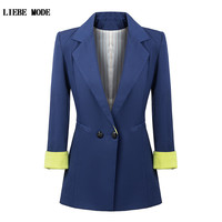 בסגנון אמריקאי כחול שחור ארוך בלייזר נשים גבוהה האופנה Slim Fit בלייזר נשים זוגי חזה מעילי טוקסידו חליפת בגדי עבודה