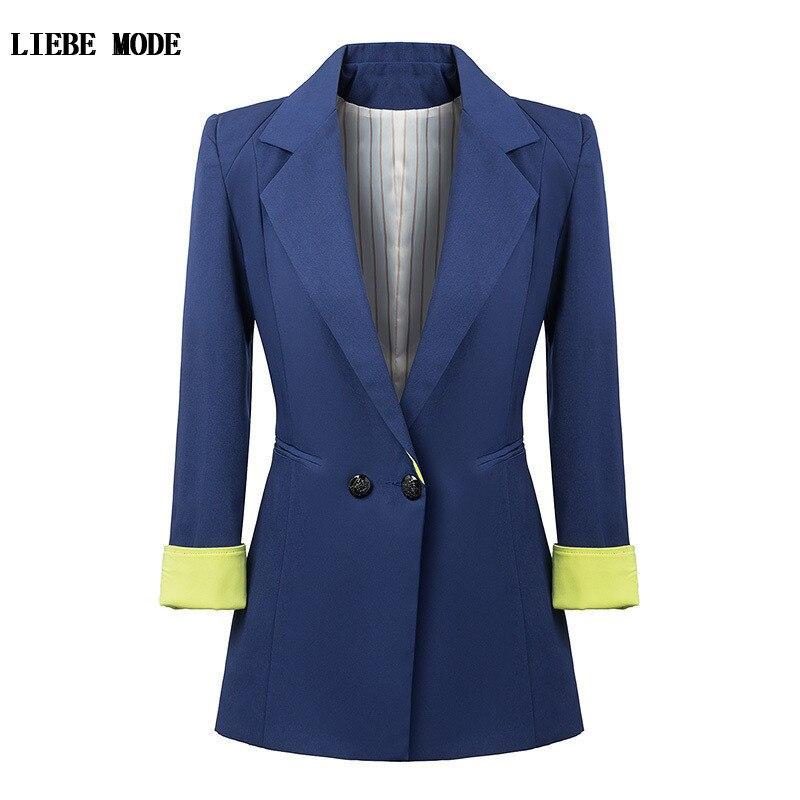 American Style Blue Black Long Blazer Women High Fashion Slim Fit Blazer Womens Double Breasted Tuxedo Jackets Work Wear Suit