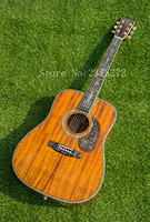 Chinese Factory Solid Koa Wood Manual Acoustic Guitar Real Abalone Mosaic And Binding Free Shipping
