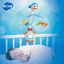 Baby Crib Musical Mobile Bell Music Box with Holder Arm Daytime and Evening Mode Baby Bed Hanging Rattle Toys Newborn Gift(China)