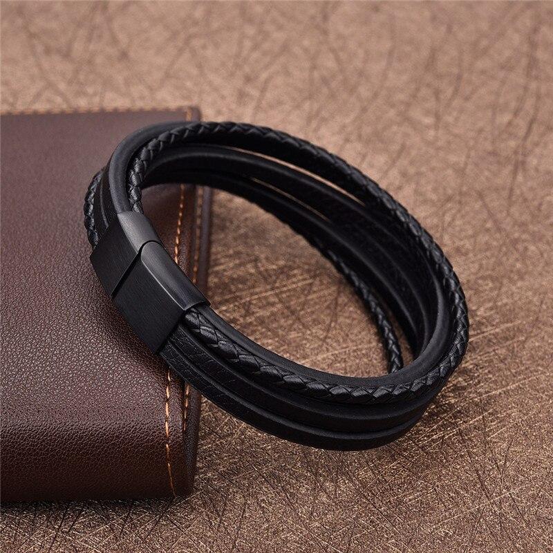 Jiayiqi Vintage Männer Armband Aus Echtem Leder Armband Edelstahl Armbänder & Armreifen für Männer Schmuck Braid Seil Kette