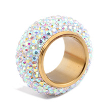 Fashion shining full rhinestone Crystal rings for women luxurious Stainless steel Wedding Ring Jewelry gold plated
