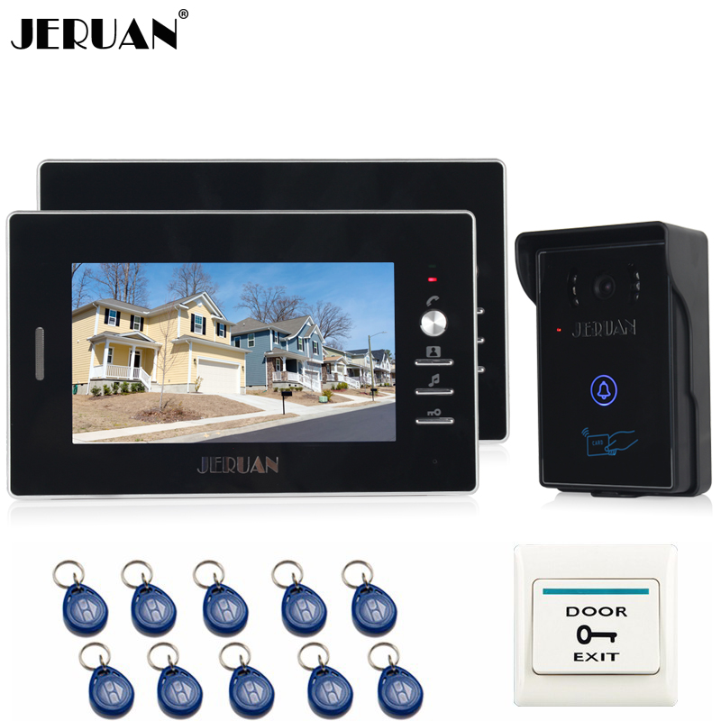 JERUAN 7`` LCD Color Video Intercom Entry Door Phone System 2 monitors +Waterproof 700TVL RFID Access COMS Camera FREE SHIPPING rfid keyboard ip65 waterproof video doorphone intercom system for 3 apartments with 7 color lcd video intercom system in stock