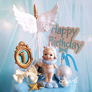 Image 2 - 高貴なbnowknotフレーム番号1st 2 3ピンクブルーケーキトッパーデザート装飾誕生日パーティー素敵なギフト
