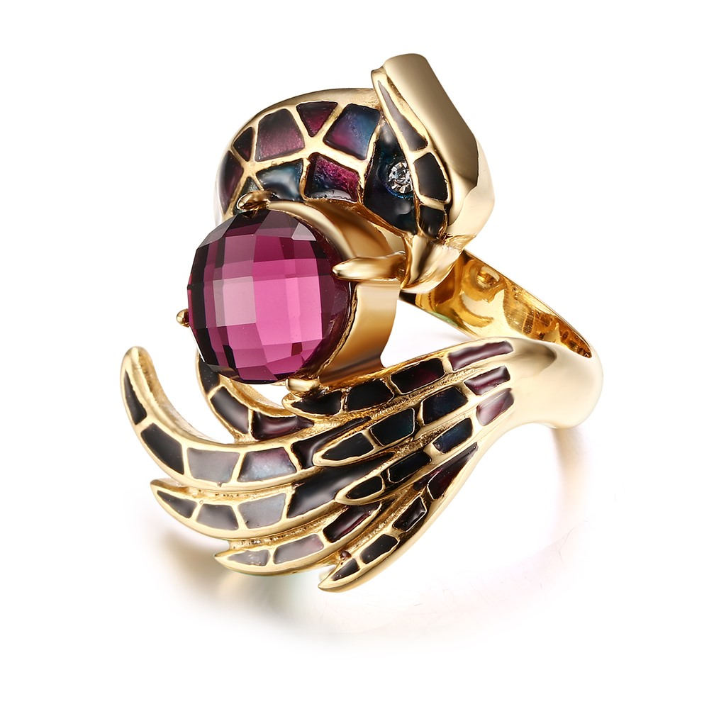 New Fashion Party Women Ring Plated Stainless Steel Jewelry Big Shiny Emamel Material Rc-196