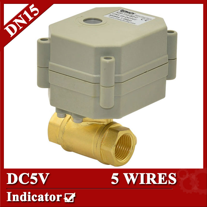 1/2'',DC5V,5 wires motorized valve, DN15 electric actuator valve with indicator,2 way  brass ball valve 5 2 1