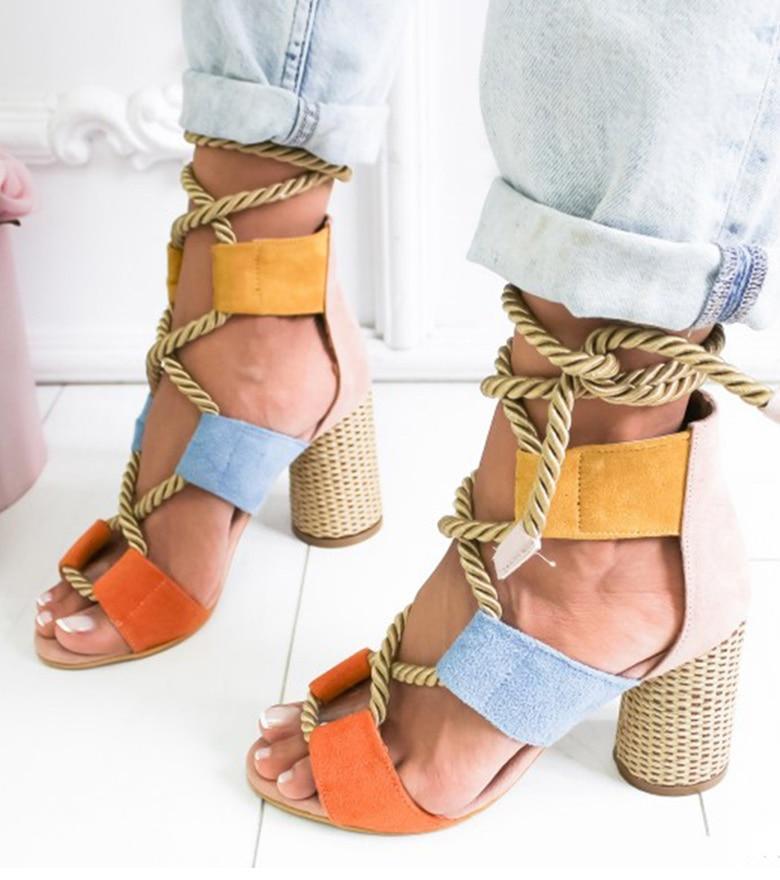 HTB1lqyVaR1D3KVjSZFyq6zuFpXa9 Women Sandals 2019 Women Heels Shoes For Gladiator Sandals Women High Heels Summer Shoes Woman Lace Up Peep Toe Chaussures Femme