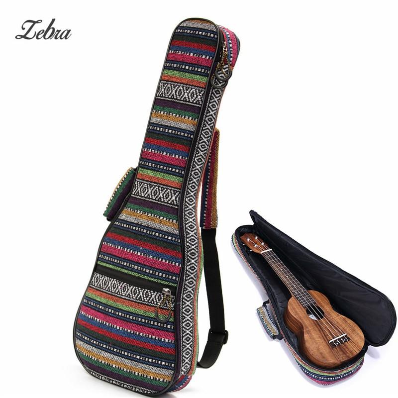 Zebra 21 Inch Cotton+Nylon Soft Padded Portable Guitar Gig Bag Ukulele Case Cover Backpack With Double Shoulder For Ukulele 21 inch colorful ukulele bag 10mm cotton soft case gig bag mini guitar ukelele backpack 2 colors optional
