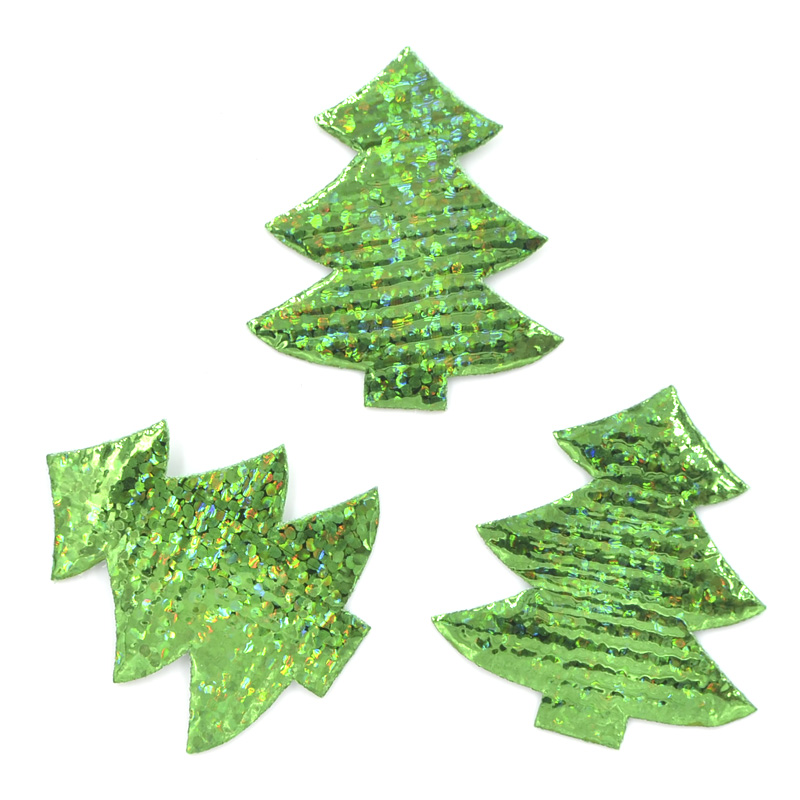 Christmas Tree Patch: 40Pcs 30*34mm Laser Cloth Christmas Tree Patches DIY