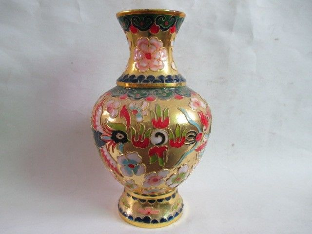 Chinese Cloisonne Collection Longfeng Vase In Figurines Miniatures