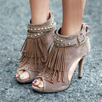 3 Colors 2016 Spring Summer Women S Full Grain Leather Rivets Sexy Shoes High Heels Tassel