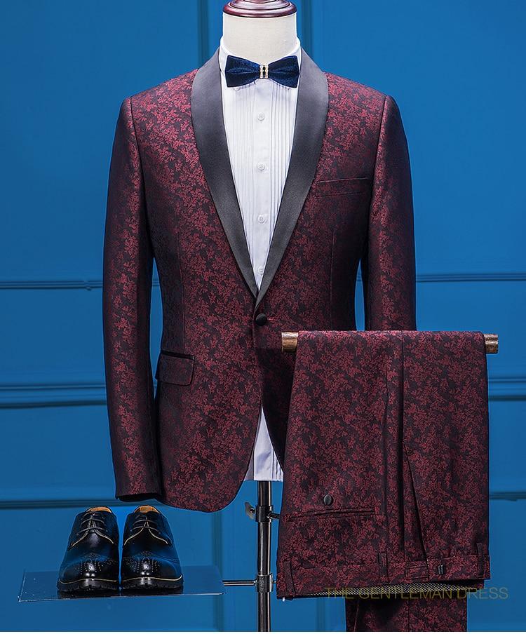 latest coat pant designs burgundy floral men suit formal