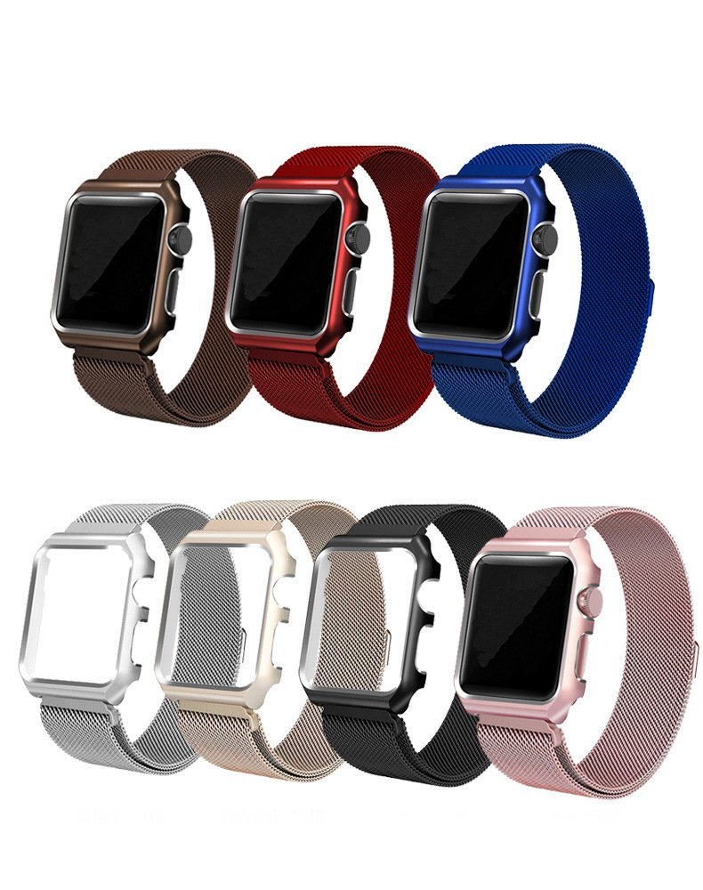 Milan Case Strap for Apple iphone Watch strap 38 42 40 44 mm Band Stainless Steel Metal Bands Shockproof Magnetic for Iwatch