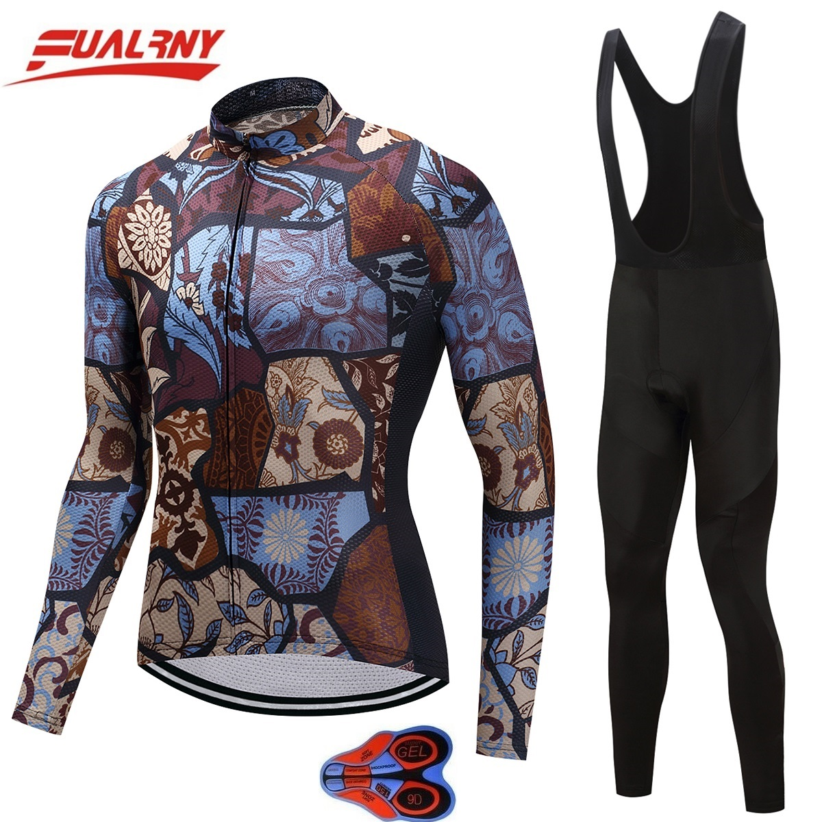 2019 NEW Team FUALRNY Long sleeve Ropa Ciclismo Cycling Jersey set 9D/Autumn Mountian/MTB Bike Clothes For Man Stitching pattern