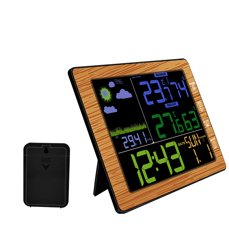 Multi function Wireless Color Screen Weather Clock Temperature and Humidity Meter Clocks Weather Forecast Table Desk