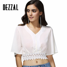 DEZZAL Lady Fashion Embellished Patchwork Top Beachwear Female Summer Blouse Lace Crop Top V Neck Half Sleeve Woman Short Shirt