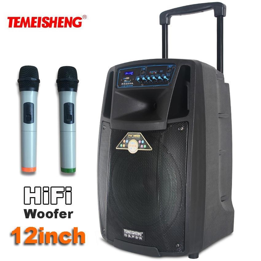 TEMEISHENG Lever SL12 High Power Portable Loudspeaker Bluetooth Speaker Support Wirelss Microphone Outdoor Column MP3 Player