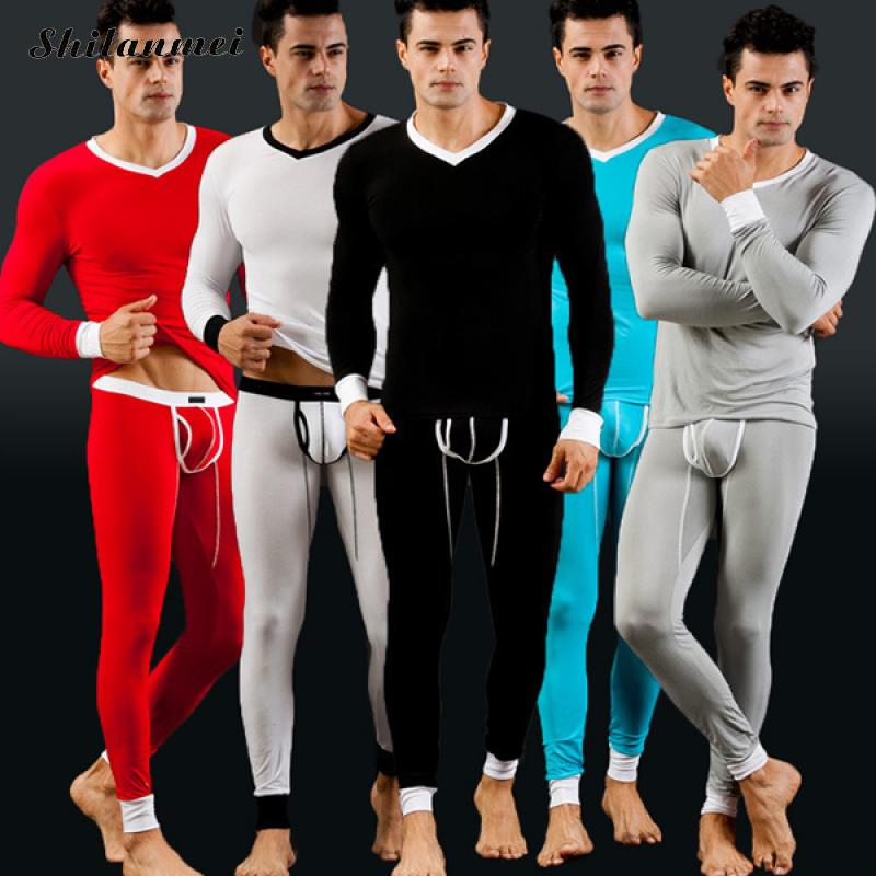 Winter Men Modal Thermal Warm Underwear Sets Long Johns Sets Thermos Termica Cueca Pajamas Mens Sexy Tights Lange Unterhosen