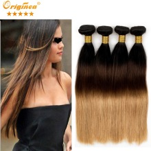 Originea Brazilian Virgin Hair Straight 4 Bundles Rosa Hair Products Brazilian Straight Hair Weave Ombre Human Hair Extensions
