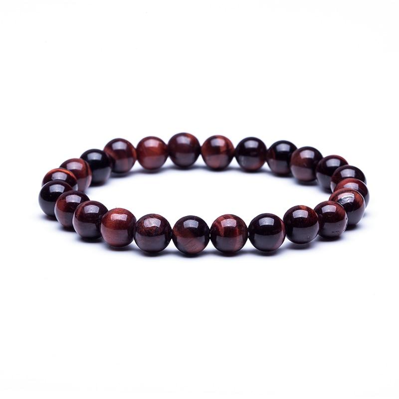Natural Stone Beads Bracelets High Quality Tiger Eye Buddha Lava Round Beads Elasticity Rope Bracelets for women & men jewelry