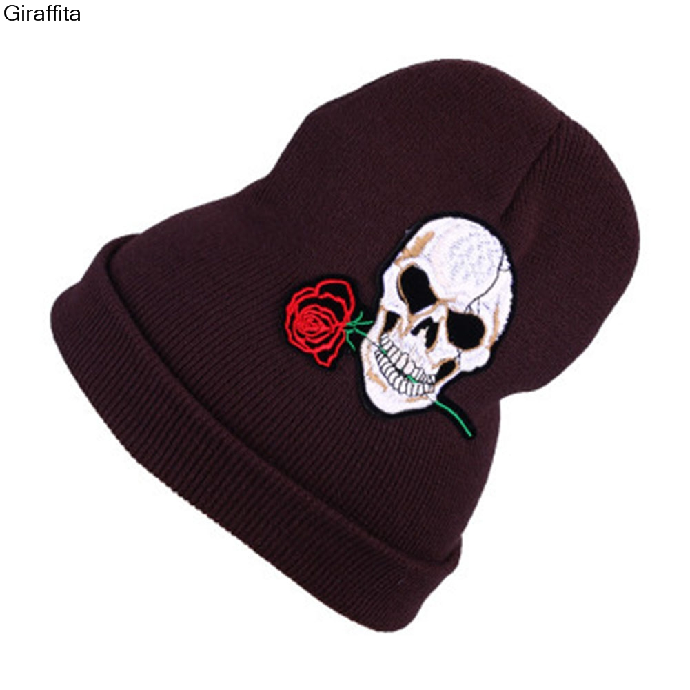New Warm Wool Winter Hat Women Hats Girls Skull And Red Rose Cap Autumn Winter Fashion Beanies Casual Knitted Caps 2017 new fashion autumn and winter wool leaves hollow out knitting hat thick female cap hats for girls women s hats female cap