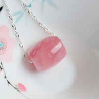 high quality 18mm Natural light Madagascar pink crystal powder Hibiscus pendant with 925 silver chain female good luck beads